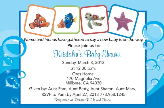 finding nemo baby shower invitation by jennya309 on etsy