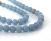 Angelite beads, natural light blue gemstone, 6mm round, full & half strands available  (709S)