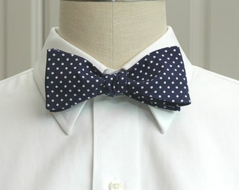 Men's Bow Tie in navy blue with white mini dots (self-tie)