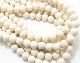Whitewood, 10mm, Bleached, Round, Large, Smooth, Natural Wood Beads, 16 Inch Strand - ID 1422