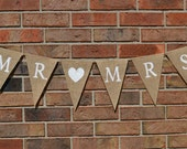 Mr and Mrs banner  ..  Burlap  ..  Wedding   ..  Egagement