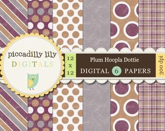 Instant Download - Plum Hoopla Dottie -- 12x12 Digital Printable Paper Pack Plum Mustard Gray -- Buy 3 Digital Paper Packs Get 1 FREE