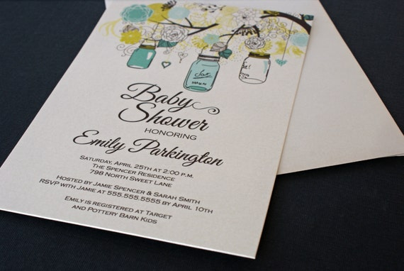 Printed Floral Mason Jar Boy Baby Shower Invitations - Digital Version Available
