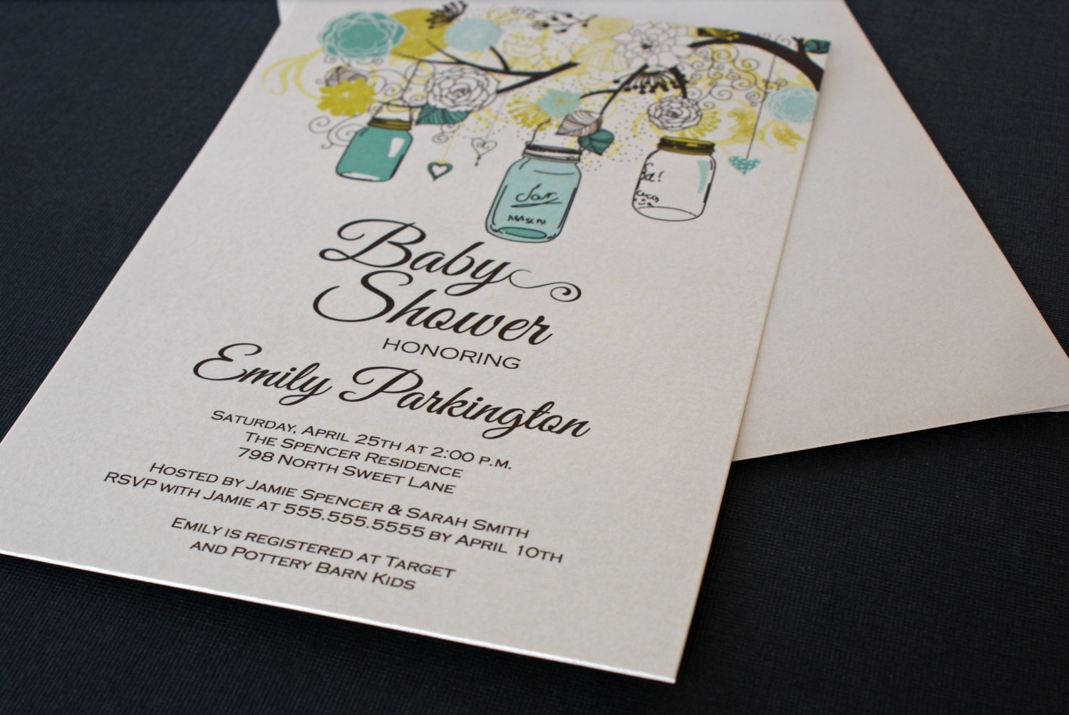 printed floral mason jar boy baby shower invitations digital