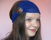Turban Style Headband in Royal Blue with Jewel Toned Floral Pin Accent