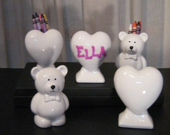 Personalized Kids Party Favors Crayon/Pencil Holders -Hearts or Bears