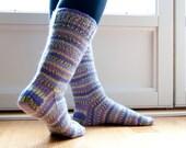 Hand knit socks-purple dream. striped socks. LAST PAIR AVAILABLE size 7.5-8.5us