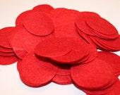 "Red Felt Circles - 2""  - Set of 25, 50 or 100"