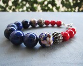 Red and Blue Jewellery Set / Lapis/ Red Bambu Coral