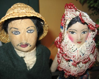 Charming Vintage Mexican Doll Couple - Folk Art Senor and Senorita - Hand Painted Faces, Cloth - Lot of 2 - Man and Woman Pair