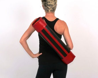 SALE- Swank Retro Yoga Mat Bag in Black and Red