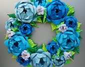 Blue Rose Origami Paper Wreath With Green Leaves,  Mother's Day Wreath, Easter Wreath, Baby boy shower centerpiece
