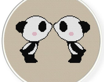 Instant Download,Free shipping,Counted Cross stitch pattern,Cross-Stitch PDF,Loving you, panda kisses ,panda in love,ZXXC0349