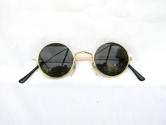 Gold Frame Circle Glasses : Vintage 90s NOS Dead Stock UNISEX Circle Sunglasses w Gold