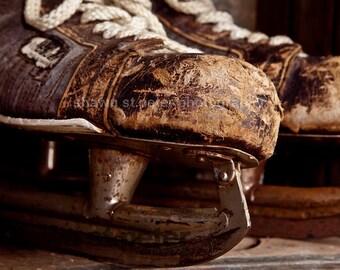 Vintage Bauer Hockey Skates angle one Photo Print, Boys Room, Wall Decor, Wall Art,  Man Cave,Boys Nursery Ideas, Gift Ideas,