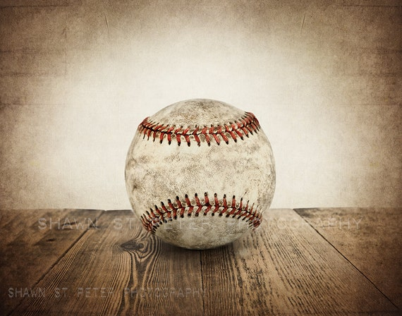 Vintage Single Baseball On Wood Photo Print Decorating Ideas Wall Decor Art Kids Room Nursery Gift