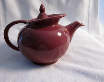 HALL china windshield tea pot maroon