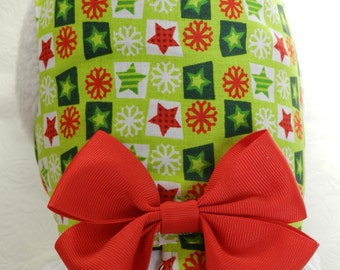 Christmas Holiday Green & Red Plaid with Stars and Snowflakes Harness with Bow and Lace. Custom made for your Cat, Dog or Ferret.