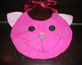 Pink  baby bib (cat)