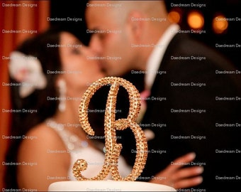 ANY COLOR Customized Monogram Cake Toper- Blinged with Crystals
