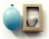 Unique Birthday card - Personalized text - a natural Heart rock in a box