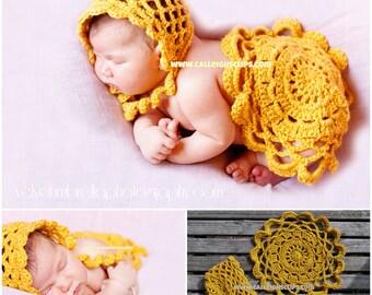 Instant Download Crochet Pattern No. 96  - Emma Bonnet and Doily Cape/Mat