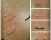 Gemstone Bar Necklace - Genuine Stone Center - Gem Bead Necklace Sterling Silver Chain