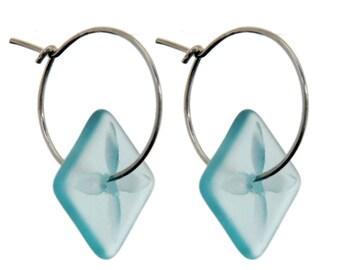 Square Tapa Earrings Bombay Blue.