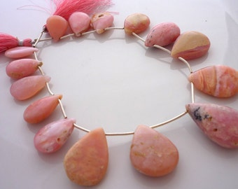 Rustic pink peruvian opal polished pear focal briolettes 18-29mm full strand