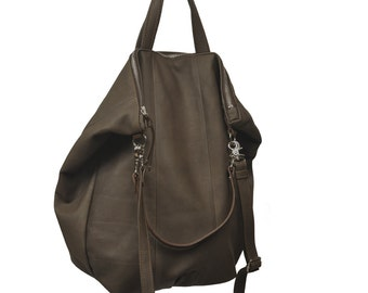Leather Womens handbag, handmade, in  grey-brown color, named Leta MADE TO ORDER