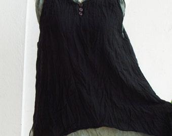 B5, Dark Night Two Tone Two Layers Sleeveless Black Cotton Blouse