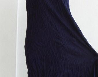D9, Sea Two Tone Sleeveless Dark Blue Cotton Dress, Maxi
