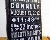 Custom Birth Announcement Wood Sign, New Baby Gift, Unique Wall Art, Retro New York Subway Graphic,  Nursery Decor