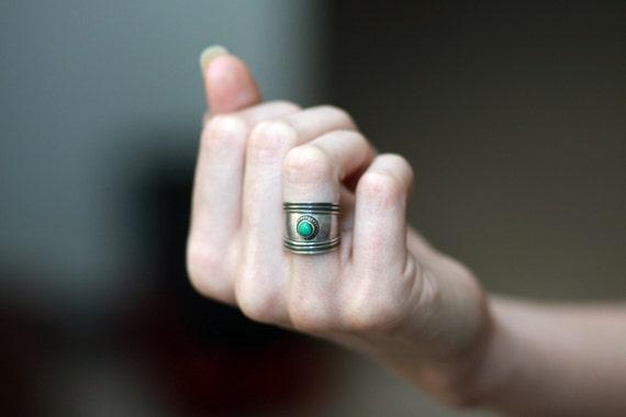 Vintage Sterling Silver - Turquoise Cuff Ring 6.5 - Southwestern Native Boho - MyAvonlea
