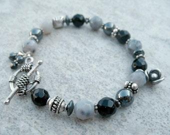 Black Onyx and Hematite Beaded Bracelet Sterling Silver Jewelry Handmade Bracelet