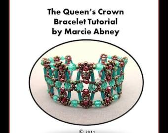 Beadweaving Tutorial - The Queen's Crown Beadwoven Bracelet Tutorial Instant Download