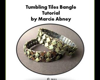 Beadweaving Tutorial Tumbling Tiles Beadwoven Tila Bangle Tutorial Instant Download PDF Tutorial Beading Beaded Lessons Instructions