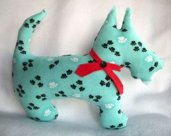 Scotty Dog Plush Pillow Pal in Paw Print Flannel  - McAlistair