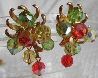 Colorful Crystal Dangle Cha-Cha Clip On Earrings