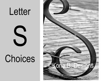 Letter S  -  Alphabet Photography  -  4x6 Photo Letter -  Unframed - Black and White or Sepia