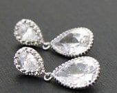 Glamour Bridal Silver White Cubic Zirconia Teardrop Earrings