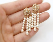 Bella. Bridal Pearl Earrings. Art Deco. Ivory Swarovski Crystal Pearls