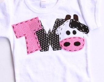 2nd barnyard birthday shirt, two, cow, 2nd, girl  t shirt, barn yard, farm theme, white