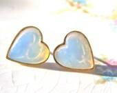 Vintage Opal White Heart Brass Gold Post Earrings - Valentine's Day - Wedding, Bridesmaids Earrings