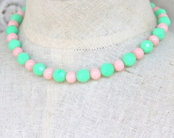 Mint Green Alabaster  Pink Jade Faceted Glass Bead Necklace - Preppy,Wedding, Bridesmaid,Bridal, Beach, Boho