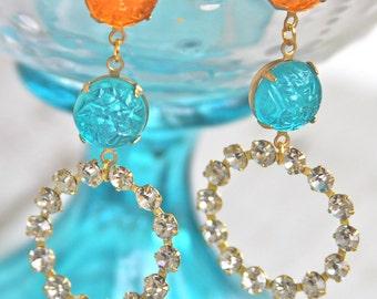 Vintage Aqua Blue and Orange Round Rhinestone Drop Dangle Earrings - Statement, Wedding, Bridal, Beach, Upcycled