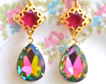 Vintage Iridescent  Pear Teardrop Vintage Brass Filigree Pink Purple Green Filigree Rhinestone Dangle Earrings - Wedding,Statement Earrings