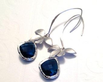 Blue drop orchid earrings, Blue Orchid earrings, Orchid Jewelry, Blue Drop Orchid, dangle Earrings, wedding orchid jewelry, Orchid jewelry