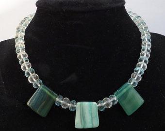 Clear Quartz, Blue Quartz and Agate Necklace, Gemstone Necklace, UK Seller