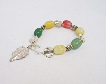 Agate Bracelet, Multicolor Bracelet, Charm Bracelet, Gemstone Bracelet, Handmade Jewelry, UK Seller